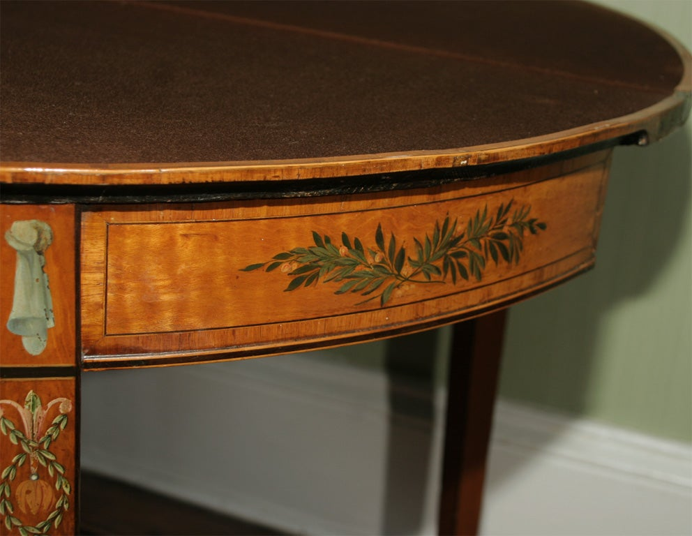 Sheraton Period Painted Satinwood Demilune Card Table. English, Circa 1780 7