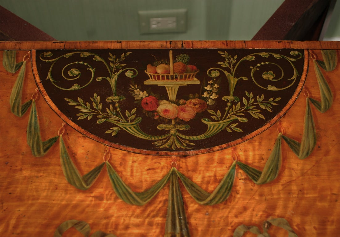Sheraton Period Painted Satinwood Demilune Card Table. English, Circa 1780 9