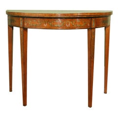 Sheraton Period Painted Satinwood Demilune Card Table. English, Circa 1780