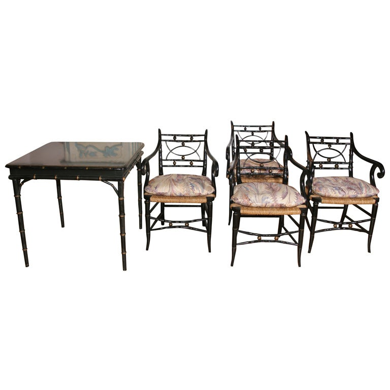 A Regency Style Ebonized Card Table And Four Chairs At 1stdibs