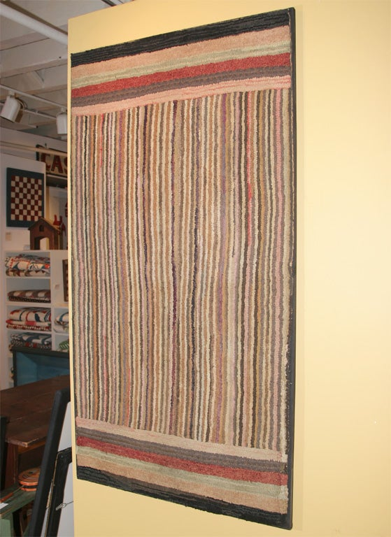 20th Century Geometric Hooked Rug For Sale