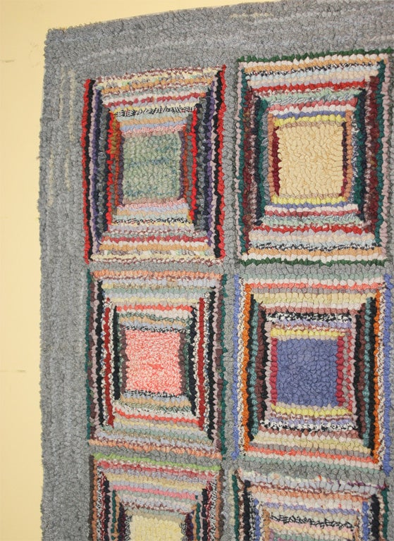 Antique Hooked Rug:  Geometric In Excellent Condition For Sale In New York, NY
