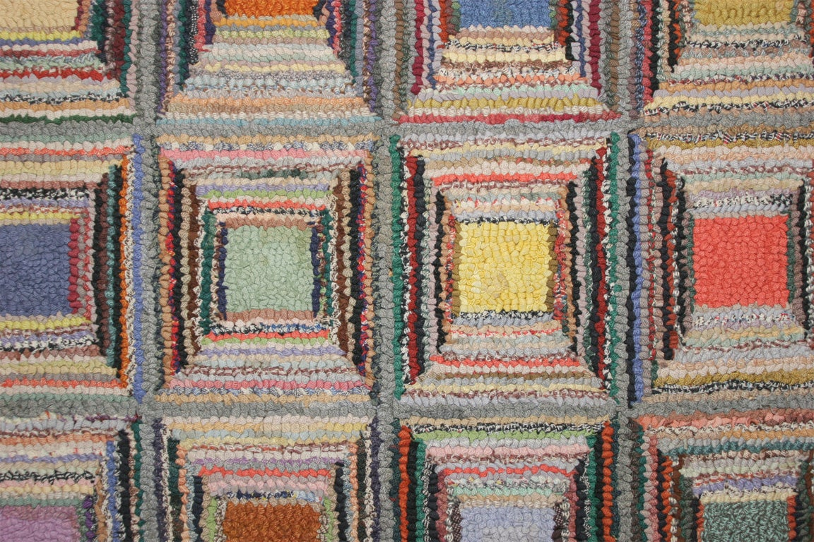 Mid-20th Century Antique Hooked Rug:  Geometric For Sale