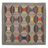 Antique Hooked Rug:  Geometric