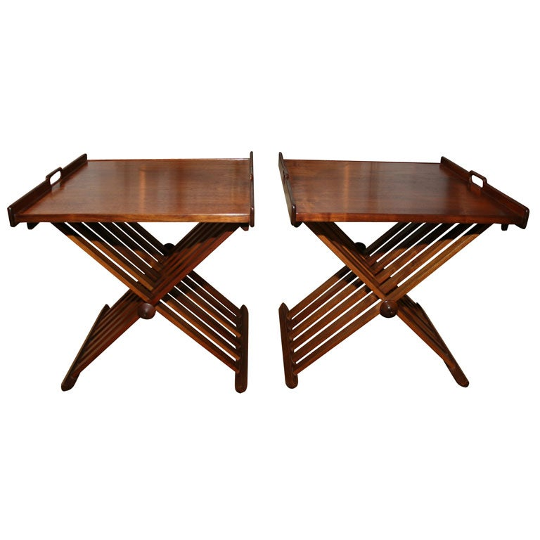 Pair of Campaign Folding Tables by Stewart MacDougall & Kipp Stewart for Drexel