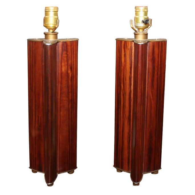 Pair of Vesica Piscis Triquetra Form Rosewood Column Table Lamps