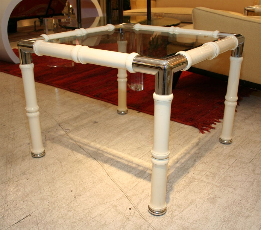 Chrome and lacquer faux bamboo side tables. Matching coffee table also available.