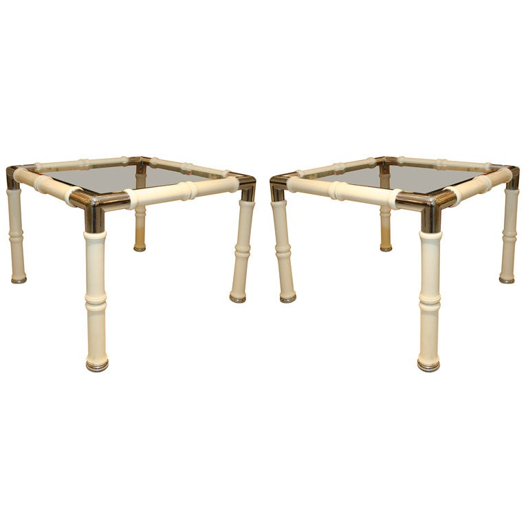 Faux Bamboo Side Tables For Sale