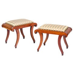 Set of Four English Regency Upholstered Mahogany Stools