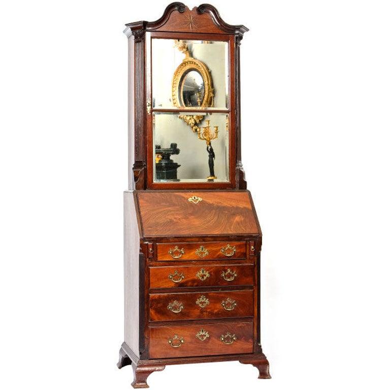George IV Mahogany Bureau Bookcase For Sale