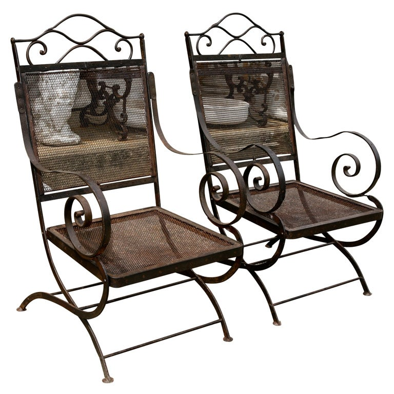 Pair of 19th C. French Metal Throne Style Arm Chairs