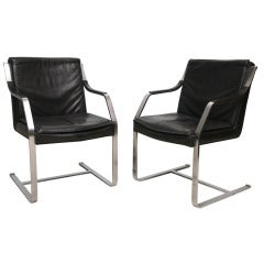 Set Of Six Steel And Black Leather Armchairs By Maison Jansen