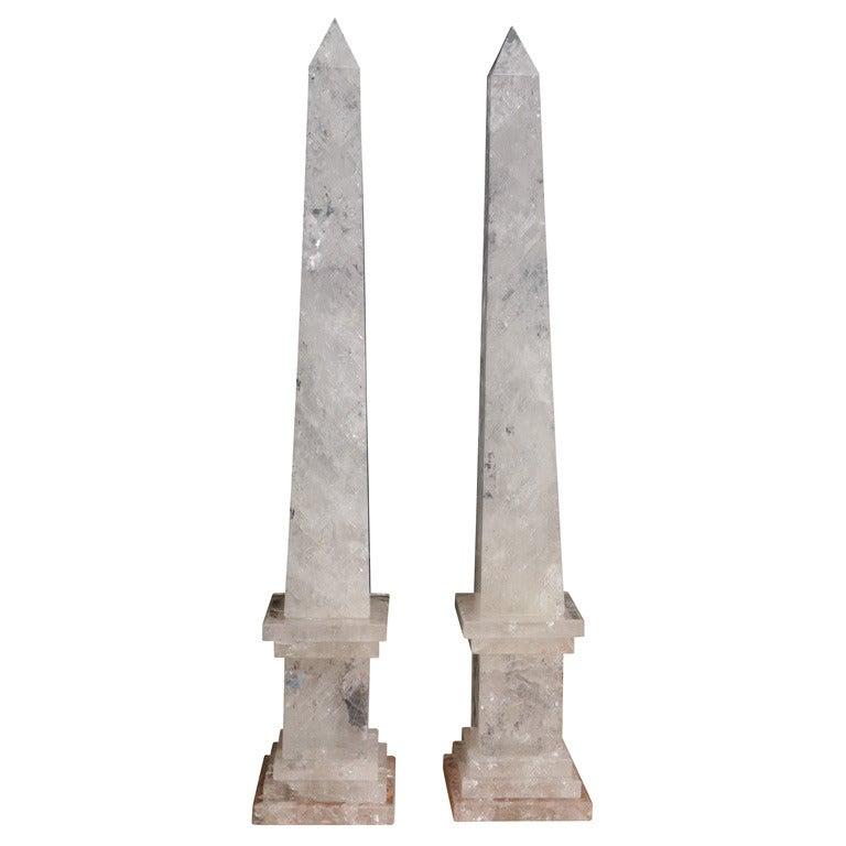 Pair of Monumental Rock Crystal Obelisks