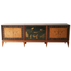 Superb Italian Six-Door Mixed Wood and Chinoiserie Buffet