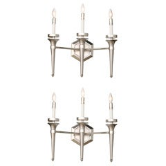 Pair of Karl Springer Three-Light Wall Sconces