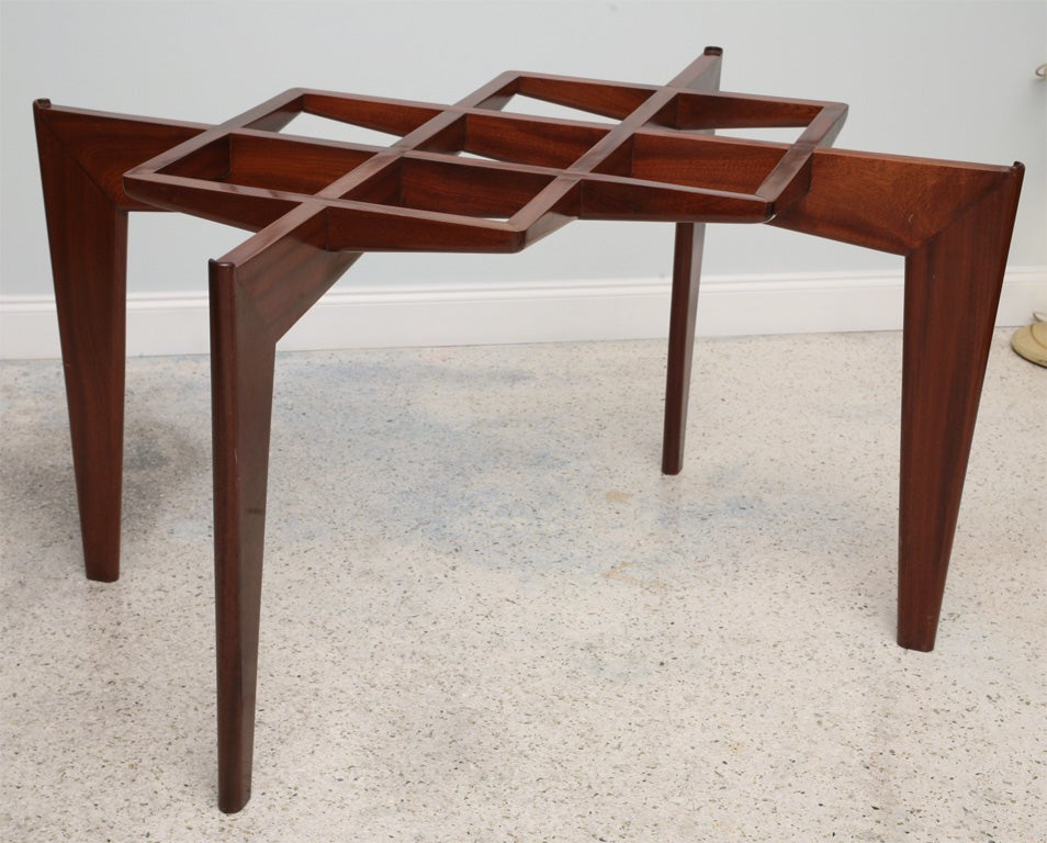 Mid-Century Modern Italian Modern Mahogany and Glass Dining Table, Gio Ponti For Sale