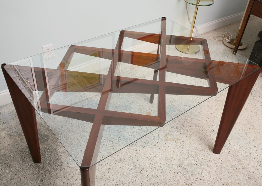 Mid-20th Century Italian Modern Mahogany and Glass Dining Table, Gio Ponti For Sale