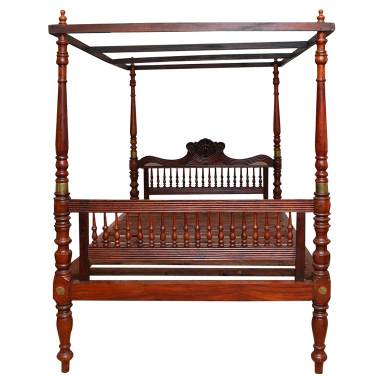 Early 19th Century British Colonial Teak Four Poster Bed