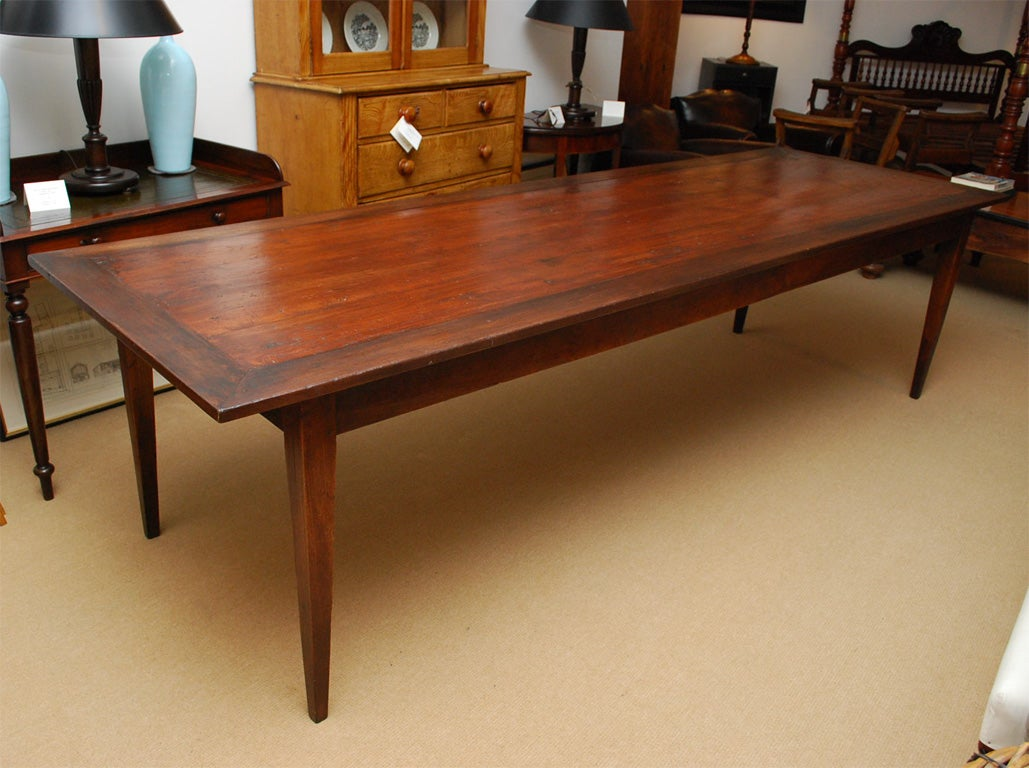 7 foot 11 inch long farmhouse dining table at 1stdibs for Long dining room table