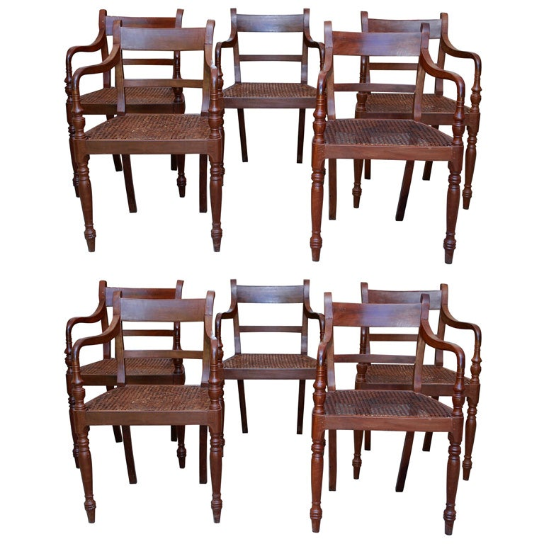 Set Of Ten 19th Century British Colonial Dining Chairs For Sale