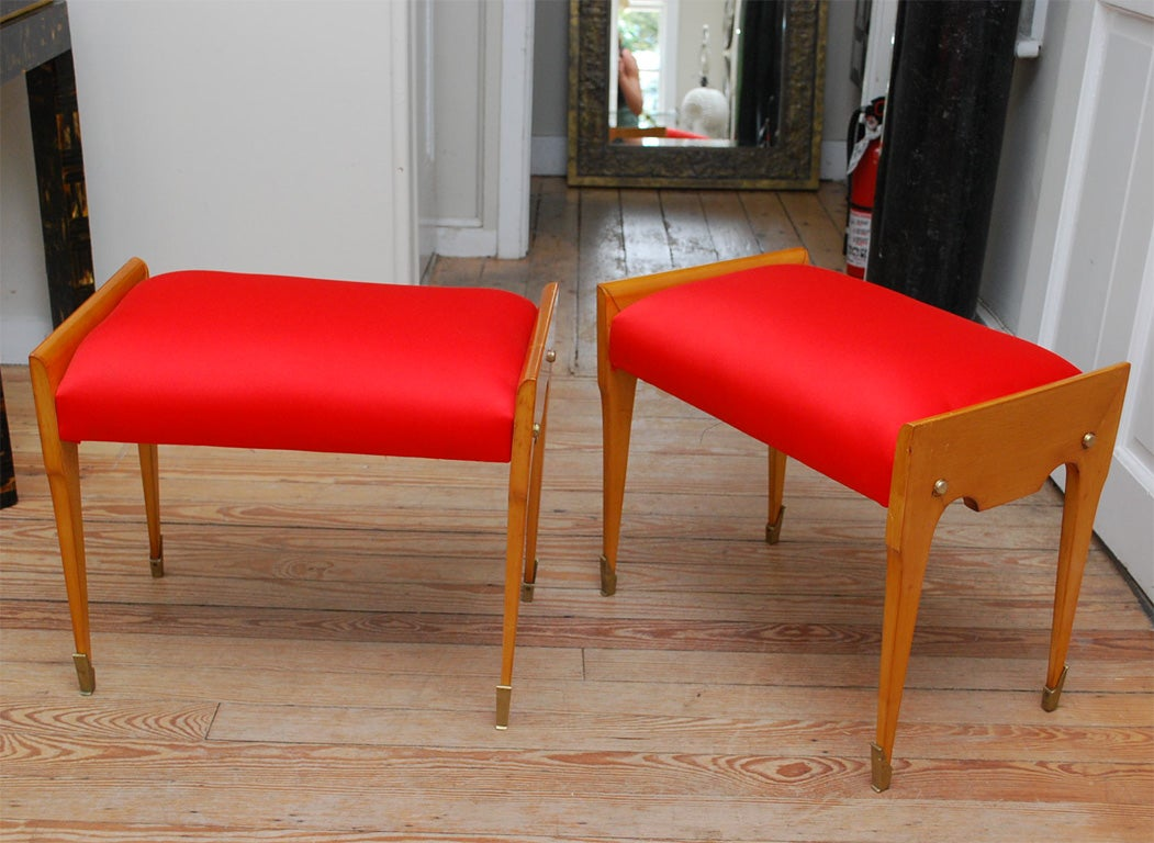Pair Of Red Cushioned Small Bench S At 1stdibs