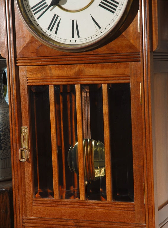 Glass Ansonia Tall Case Clock For Sale