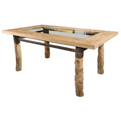 Burl Wood Glass Top Dining Table