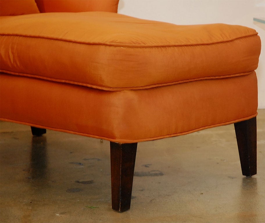 Orange silk chaise at 1stdibs for Chaise longue orange