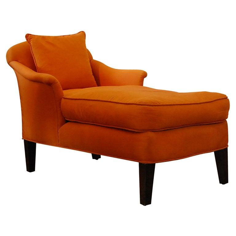 Orange silk chaise at 1stdibs for Chaise orange
