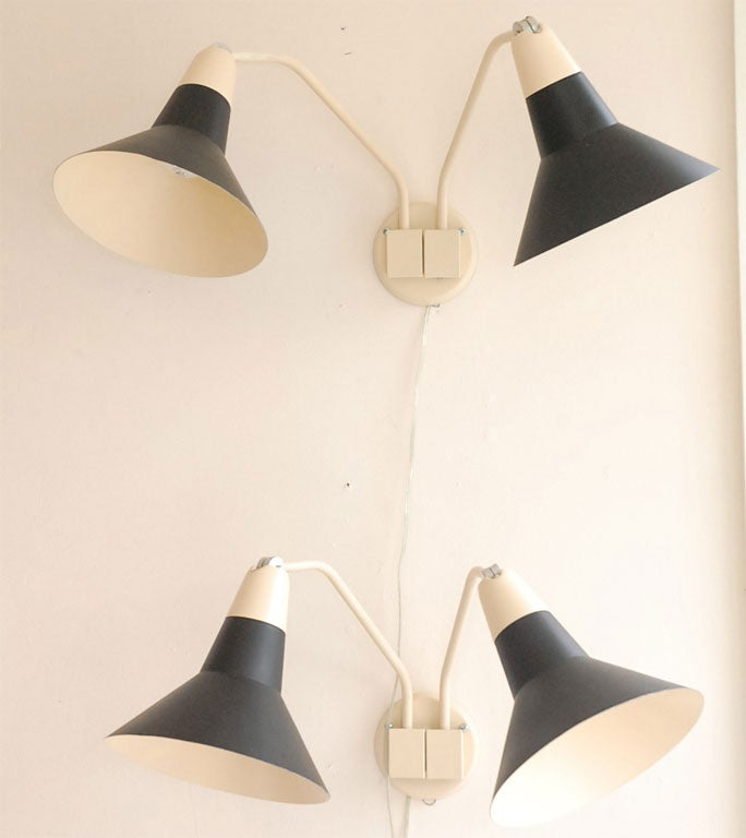 Wall Sconces Black : Black and Beige Vintage Wall Sconces at 1stdibs