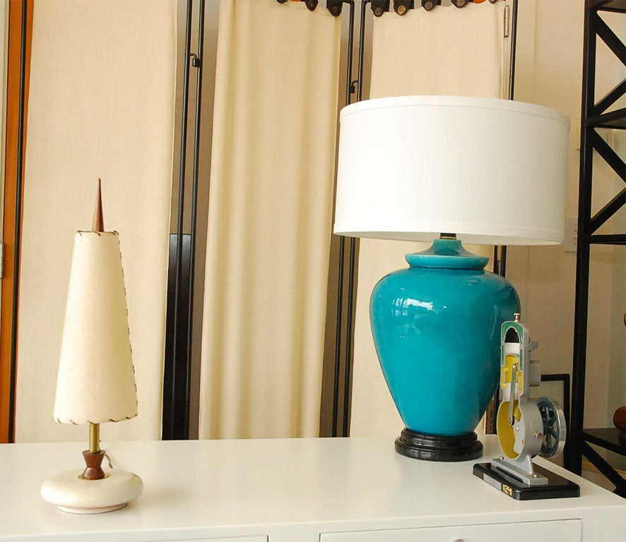 2 mid century lamps with white wood base and original shades at 1stdibs. Black Bedroom Furniture Sets. Home Design Ideas