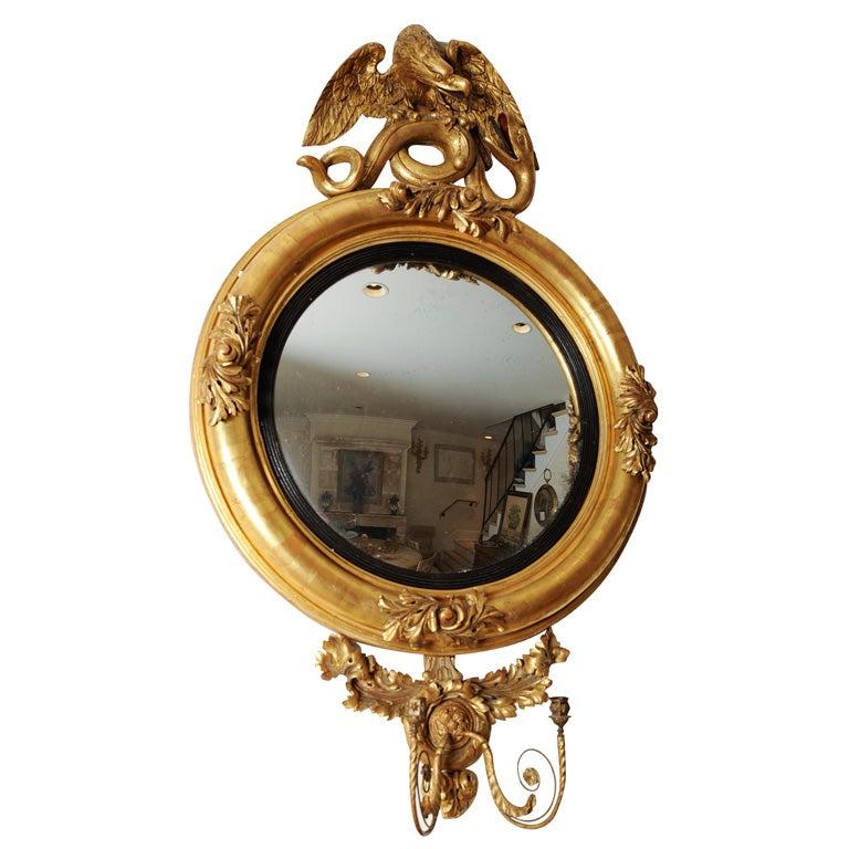 Gilt English Federal Style Dutch Convex Mirror 1