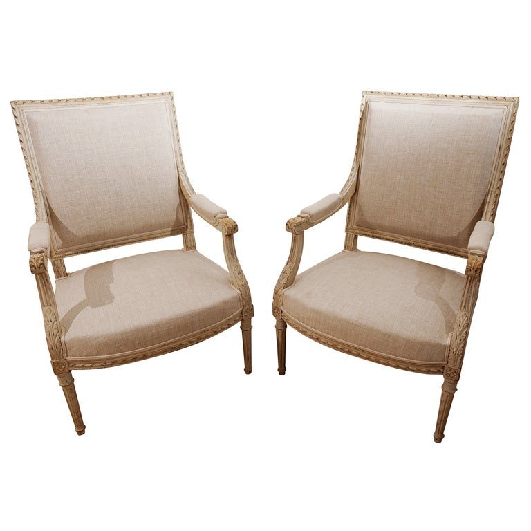 pair of white painted louis xvi style fauteuils at 1stdibs. Black Bedroom Furniture Sets. Home Design Ideas