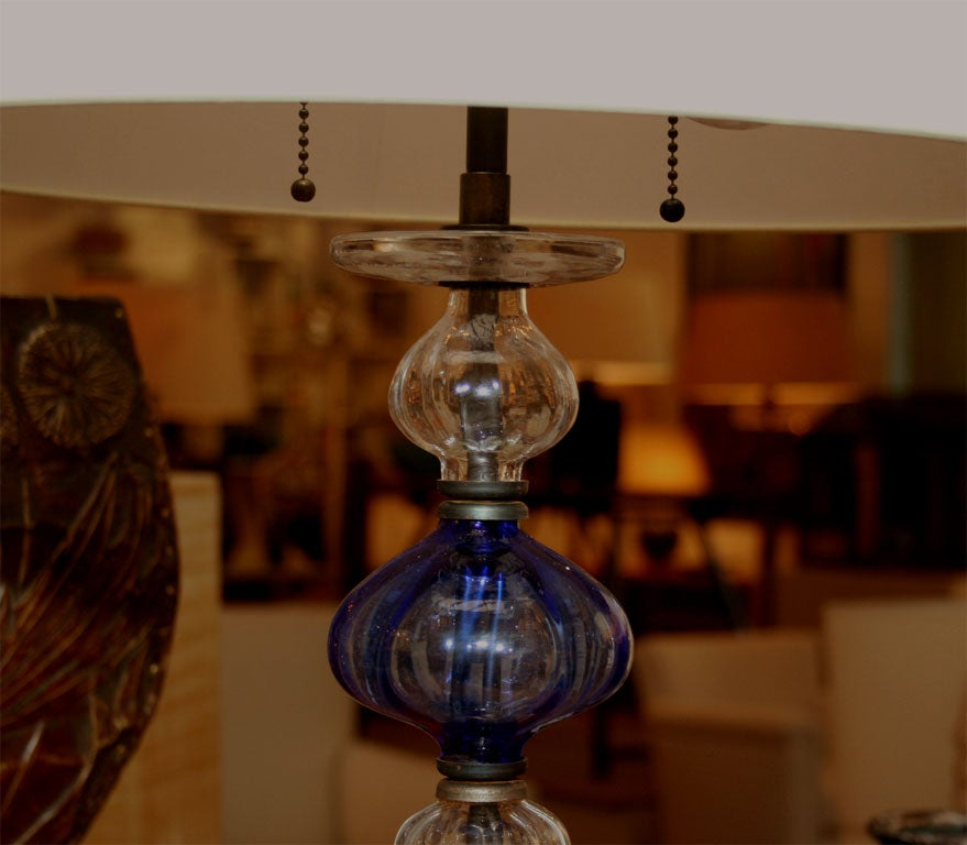 Glass and Iron Candlesticks Now Lamps by Erik Höglund at ...