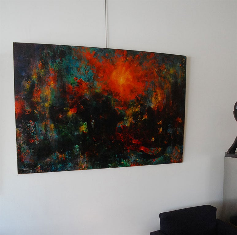 Mexican Very large abstract  painting by Leonardo Nierman For Sale