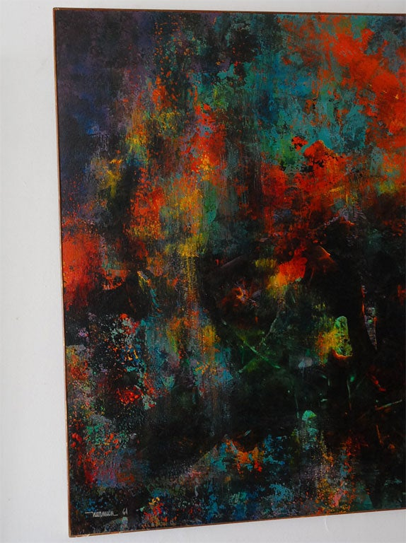Mid-20th Century Very large abstract  painting by Leonardo Nierman For Sale