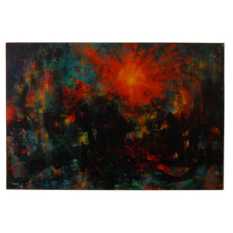 Very large abstract  painting by Leonardo Nierman 1