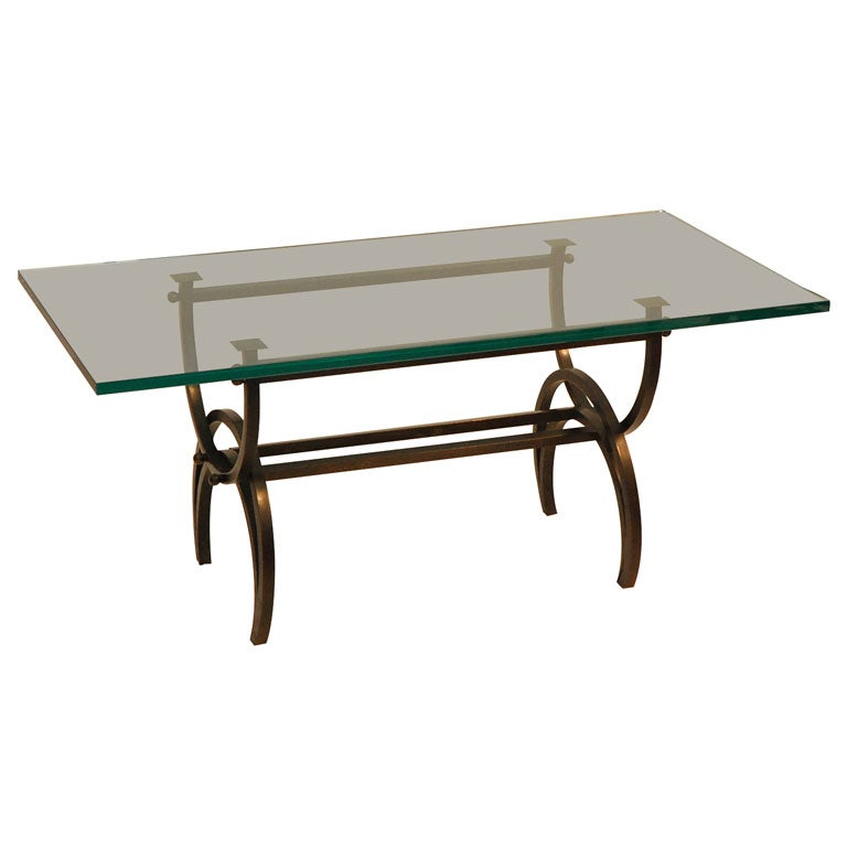 Patinated Bronze Cocktail Table With Glass Slab Top At 1stdibs