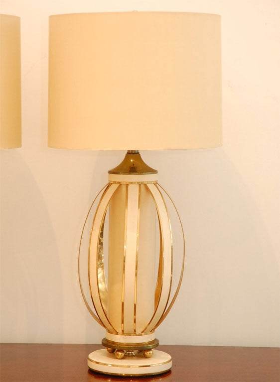 Pair Of Brass And Leather Table Lamps With Custom Silk