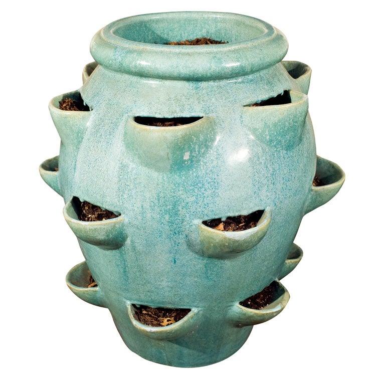 Large Robin S Egg Blue Galloway Strawberry Pot At 1stdibs