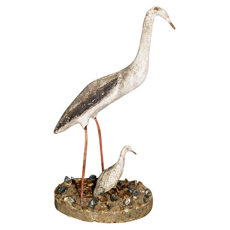 Composed Stone Crane Garden Ornament For Sale