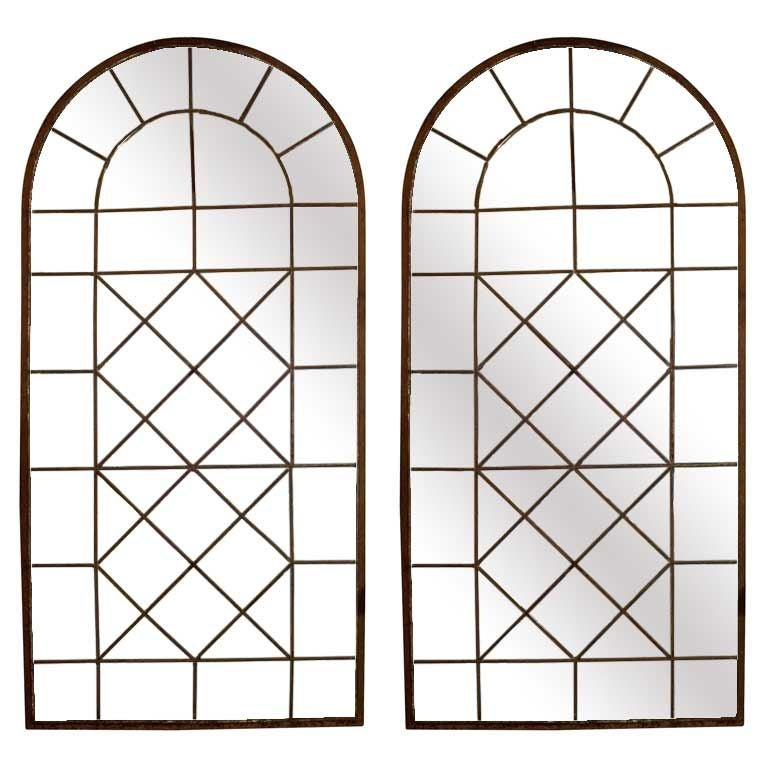 Pair Of Iron Window Frames With Mirrored Panels At 1stdibs