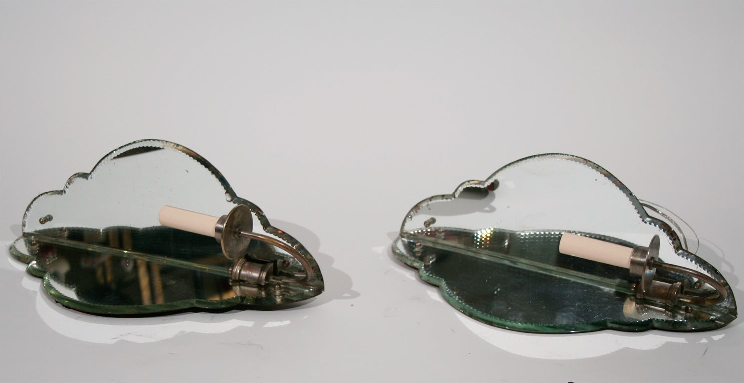 Pair of French Mirrored Corner Sconces with Shaped Glass Panels In Excellent Condition For Sale In Chicago, IL