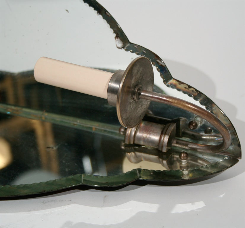 20th Century Pair of French Mirrored Corner Sconces with Shaped Glass Panels For Sale