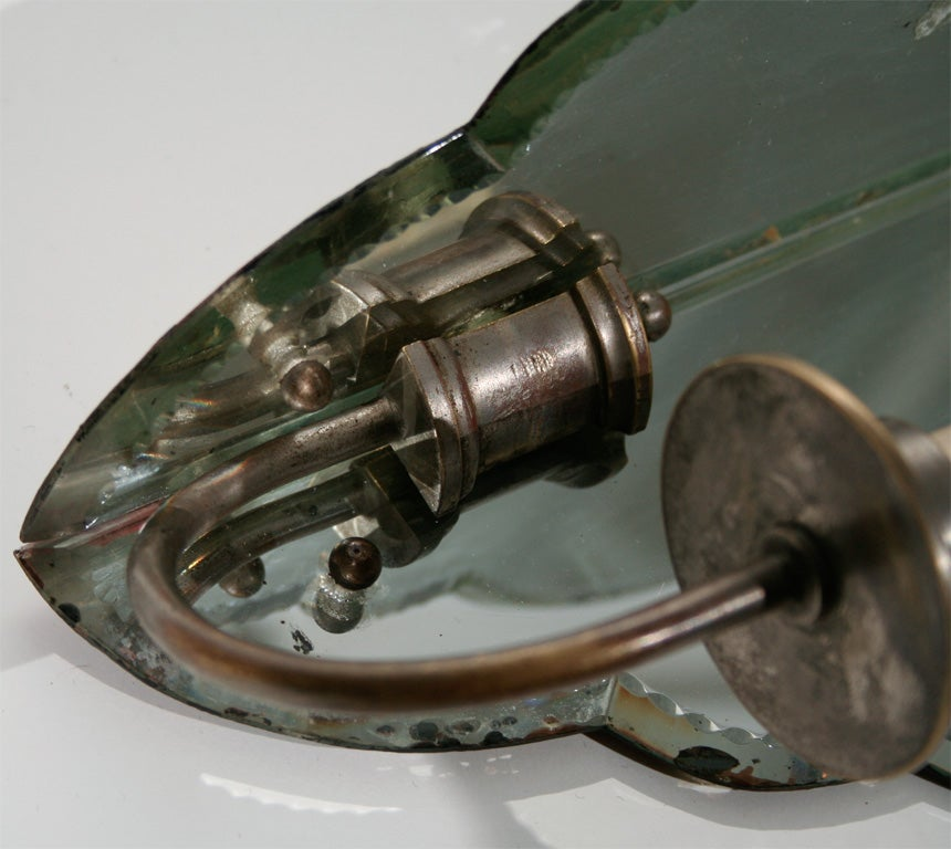 Pair of French Mirrored Corner Sconces with Shaped Glass Panels 10