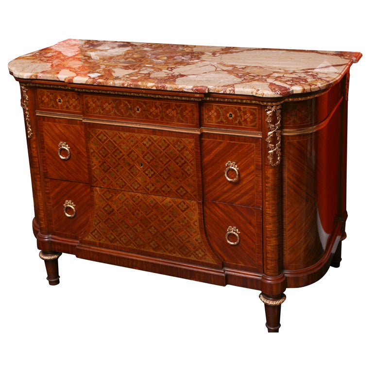 louis xvi style signed bronze mounted marble top commode sm35 at 1stdibs. Black Bedroom Furniture Sets. Home Design Ideas
