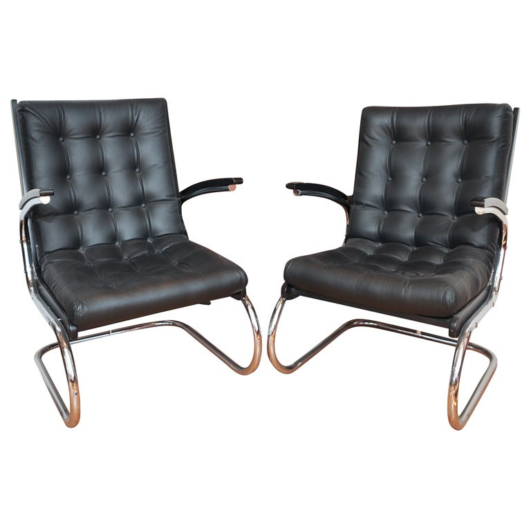 Chrome and Leather Czech Chairs