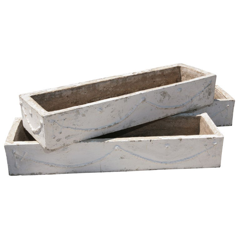 3 Cast Concrete Planters At 1stdibs