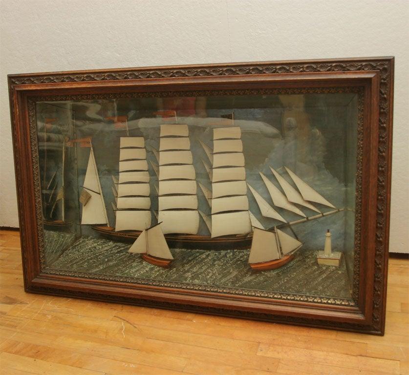 Exceptionally large Sailing Ships Diorama.  All original.