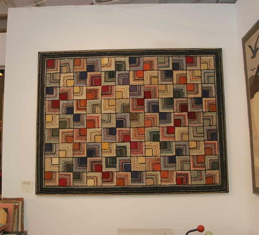 Antique Hooked Rug, Geometric 2